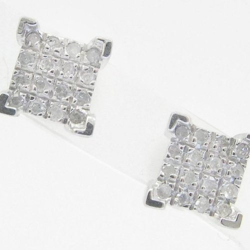 Mens 925 Sterling Silver earrings fancy stud hoops huggie ball fashion dangle white small 4 corner pave earrings