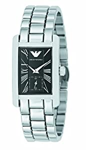 Emporio Armani Ladies Stainless Steel Bracelet Watch with Black Dial