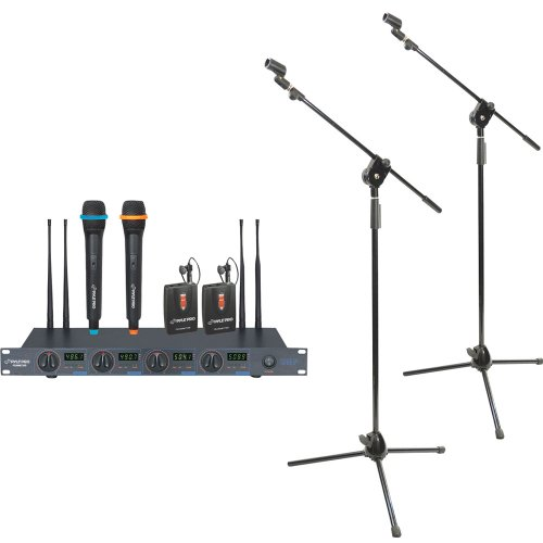 Pyle Mic And Stand Package - Pdwm7300 Rack Mount Professional 4 Mic Wireless Uhf Microphone System With 2 Lavalier And 2 Handheld Microphone - X2 Pmks3 Tripod Microphone Stand W/ Extending Boom