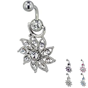 Pugster 316l Surgical Steel Clear Crystal Daisy Flower Piercing Bar Dangle Belly Button Navel Rings