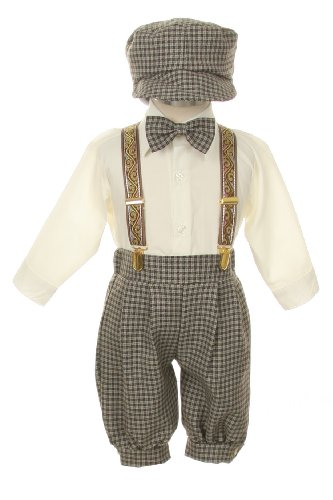 Vintage Dress Suit-Bowtie,Suspenders,Knickers Outfit Set For Boys-Toddler, Houndstooth-Beige/Ivory-4T