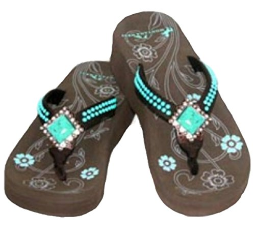 Montana West Flip Flops Western Style Sandals Wedges Coffee With Turquoise Thin Strap (6) front-1017440