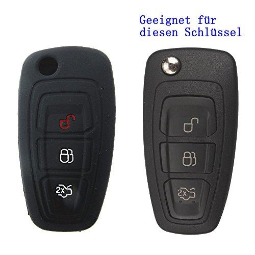 Rosso sale® 1x chiave auto cover in Silicone borsa portacomputer per VW, Seat, Skoda 3pulsanti telecomando condizione chiave pieghevole