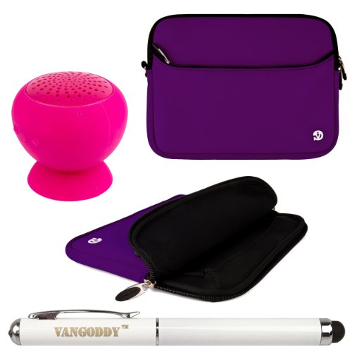 Neoprene Sleeve Cover W/ Handstrap For Jazz Ultratab Ncredible Tablet Nv8 / Q408 / C855 8-Inch Tablets + Vangoddy Laser Stylus Pen + Pink Suction Stand Bluetooth Speaker (Purple)