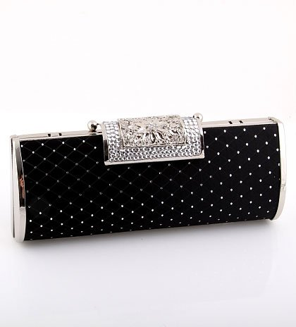 Fashion Hardware Frame High End Quality Clutch Bag Evening Bag Hand Bag Black