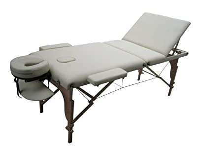 "77"" L 3"" Pad Cream PU Reiki Portable Massage Table D3"