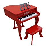 Schoenhut Learn-to-Play Baby Grand Toy Piano With 30-Keys and Patented Play-by-Color Tri-Play Learning System (Color: Red)