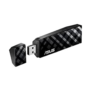 Asus USB-N53 Diamond Dual Band 2.4Ghz 300Mbps/5Ghz 300Mbps Wireless-N Usb Adapter with Graphical Easy Interface (Black)