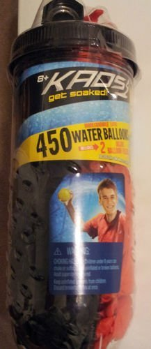 Kaos Get Soaked 450 Water Balloons Plus 2 Deluxe Balloon Fillers (Colors Vary)