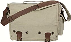 Khaki Leather & Canvas Trailblazer Military Laptop Shoulder Bag