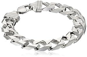 "Men's Sterling Silver Italian 12.00 mm Solid Curb Link Bracelet, 8.5"""