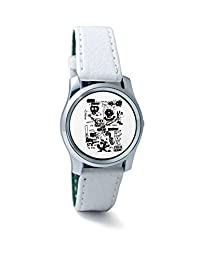 BigOwl Is It A Car Or A Cat Painting Women's Analog Wrist Watch 2114884536-RS2-S-WHT