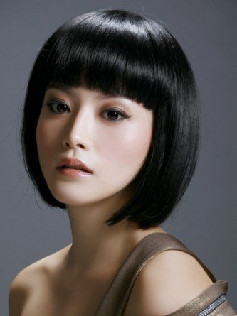 Cosplayland C577 - short straight sexy BOB wig like real Hair - black