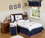 Red, White and Blue Vintage Aviator Airplane Childrens Bedding 4pc Twin Set ....