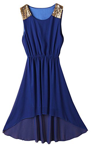 Womens Sexy Elastic Waist Sleeveless Unbalanced Bohemian Beach Midi Dress (Royal blue)