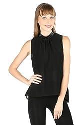 Aaliya Woman Polyester Georgette Sleeveless Evening Top - Black, M