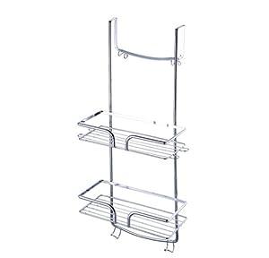 chrome 2 tier hanging over the door shower caddy cubicle. Black Bedroom Furniture Sets. Home Design Ideas
