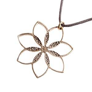 Flower Power! Peace Bronze Pendant Necklace on Adjustable Natural Fiber Cord
