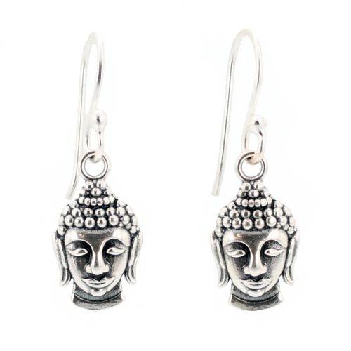 Detailed Buddha Dangle Earrings in Sterling Silver on Earwire, #7437