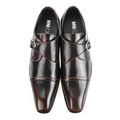 MM/ONE Mens Monkstrap Monk Strap shoes oxford shoes Water repellent Plain toe Slip-on Dress Shoes Mens Medallion Wingtip Black Brown Dark Brown