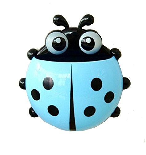 Cute Bathroom Toothbrush Stuff Ladybug Wall Suction Holder Cup (Blue)