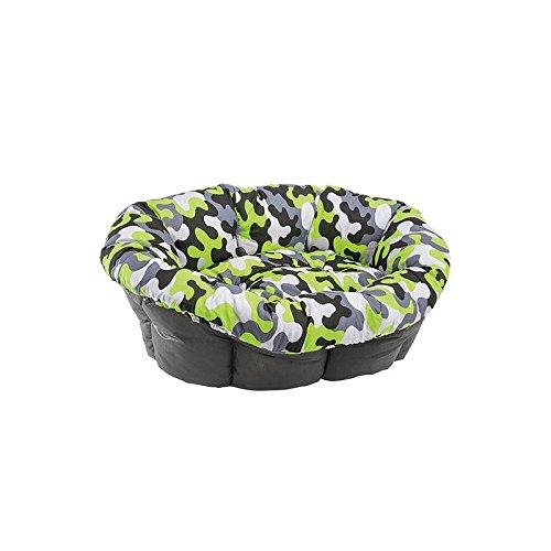 Ferplast Pet Products - Cuccia morbida per cani, misura 2, con motivo a pied-de-poule, colore nero, bianco e grigio
