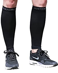 Calf Compression Sleeves - Leg Compression Socks for Shin Splint, Varicose Vein & Calf Pain Relief - Men, Women, and Runners - Calf Guard Great for Running, Cycling, Maternity, Travel, Nurses (Black,Large)