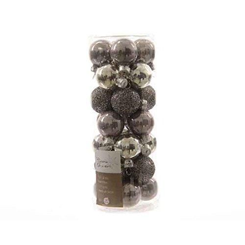 28 palline natalizie palline per albero di Natale in vetro 30 mm diametro tonalità grigio