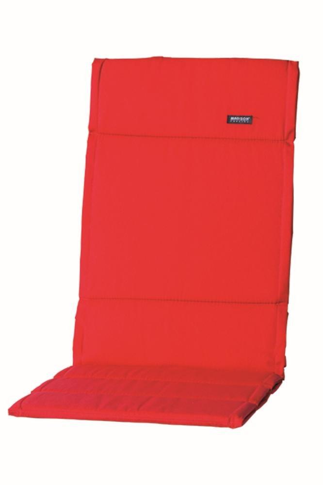 4 Stück MADISON Dessin Panama Auflage für Gartenstuhl Hochlehner, Gartensessel hoch, 75% Baumwolle, 25% Polyester, 123 x 50 x 4 cm, in rot
