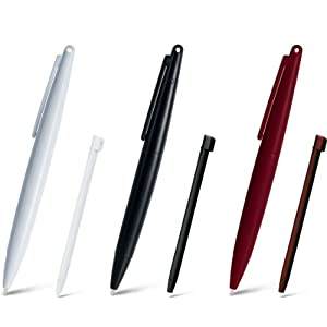DSi XL Jumbo Touch Pen Set - Black/White/Wine Red