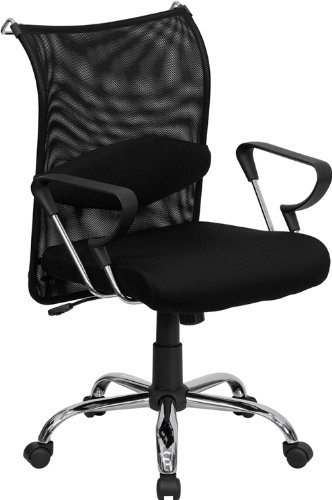 Flash Furniture BT-2905-GG Mid-Back Manager's Chair with Black Back and Padded Mesh Seat