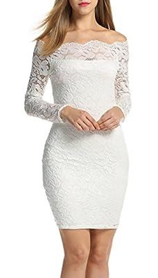 ACEVOG Women's Off Shoulder Lace Dress Long Sleeve Bodycon Casual Dresses