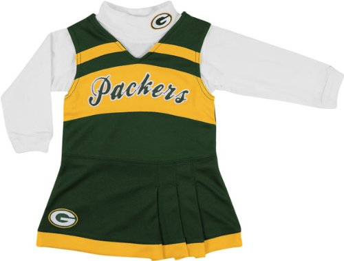 Green Bay Packers Girls 2-piece Turtleneck & Cheerleader Dress Set, Multi, 5/6 at Amazon.com