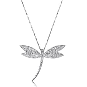 BERRICLE Sterling Silver Cubic Zirconia CZ Dragonfly Wedding Pendant Necklace 16