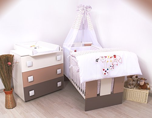 15Tlg-Kinderzimmer-Wickelkommode-Babybett-voll-Ausstattung-Igelchen