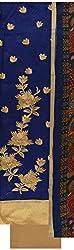 Shine Women's Cotton Unstitched Dress Material (Blue)