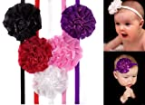 Girls Flower Puff skinny Headbands in white, purple, pink, black, & red for baby toddler & girl by My Little Legs