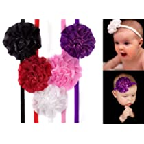 Girls Flower Puff skinny Headbands in white purple pink black & red for baby toddler & girl by My Little Legs