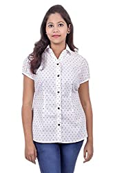 Juee Women's Printed Casual Shirt (JU106SY1STWHT) (Medium)