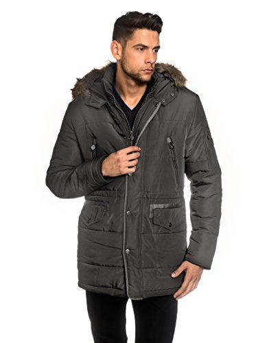 VB Men's Winter Coat with stand-up Collar, Hood, detachable fake fur, waist drawstring,darkgrey,Large