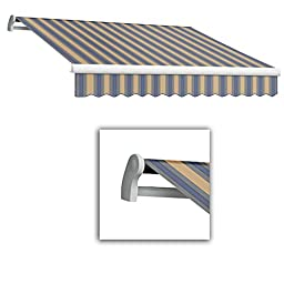 Awntech 10-Feet Maui-LX Manual Retractable Acrylic Awning, 96-Inch Projection, Dusty Blue/Tan Multi Colored