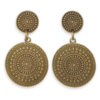 Concho Earrings Antiqued Gold Tone Fashion