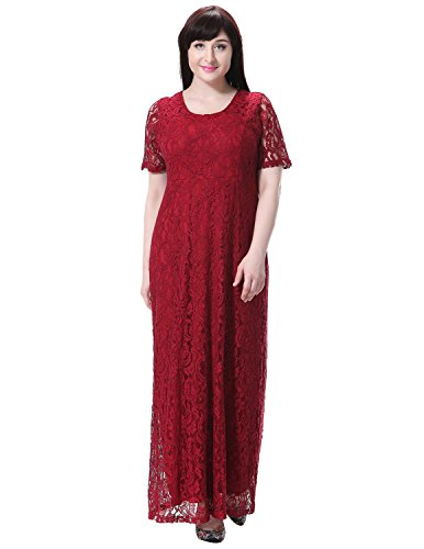 Sue&Joe Women's Plus Size Dress Short Sleeve Full Floral Lace Maxi Evening Gowns, Wine Red, Tagsize7XL=USsize22W