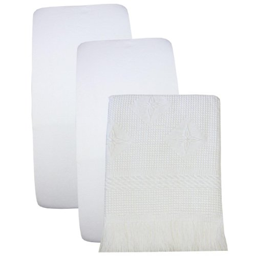 Best  BabyPrem Fitted Cotton Crib Sheets and Shawl Blanket Set x cm WHITE
