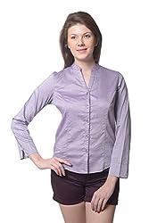 Meira Full Sleeve Chinese Collar Purpleberry Samray Shirt for Women (Large)