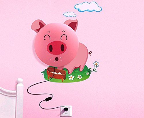 Kubert® [Technicians tested ] New Fashion DIY 3D Wallpaper And Wall Decoration Design Lampshade Warm White Light Novelty Cartoon Wall Stickers Home Room Decor Decoration LED Night Light Lamp for Kids' Bedroom (Smile Pink Pig)