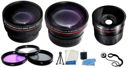 Fisheye Lens Kit Includes Super Wide 0.21X Fisheye Lens + Wide Angle Lens W/ Macro + 2X Telephoto Lens + Multi-Coated 3Pc Filter Kit (Uv-Cpl-Fld) + Lens Cap Keeper + Mini Tripod + Camera Cleaning Kit + Lcd Screen Protectors For Nikon D3100 D5100 D800 Digi