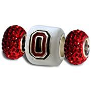 Ohio State Buckeye Bead Charm White Block O Set