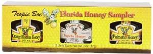 Tropic Bee Florida Honey Sampler Florida's Finest Naturals,  3 - 3-Ounce Jars