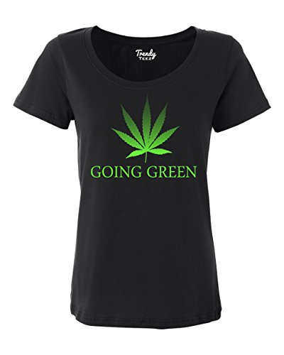 Trendy-Teez-Going-Green-Weed-Leaf-Marijuana-Pot-womens-T-Shirts